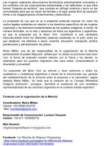 CONVOCADA LA I MARCHA DE MUJERES ORIGINARIAS, EN DEMANDA DE CREA