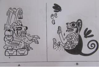 Felinos antropomorfos Maya y Mochica